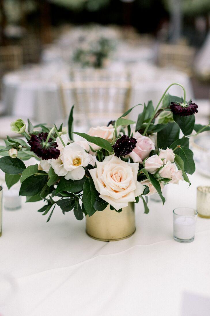 Blush Rose and Plum Scabiosa Centerpieces