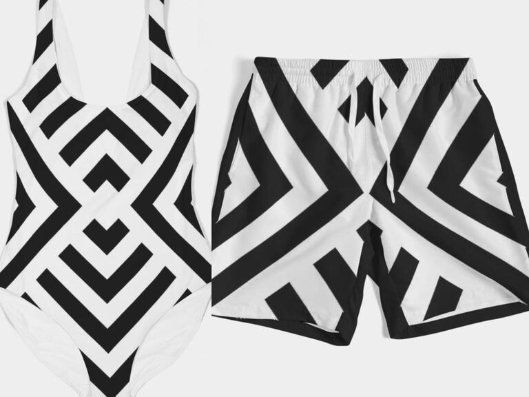 Matching black and white geometric one-piece and trunks swimwear for couple
