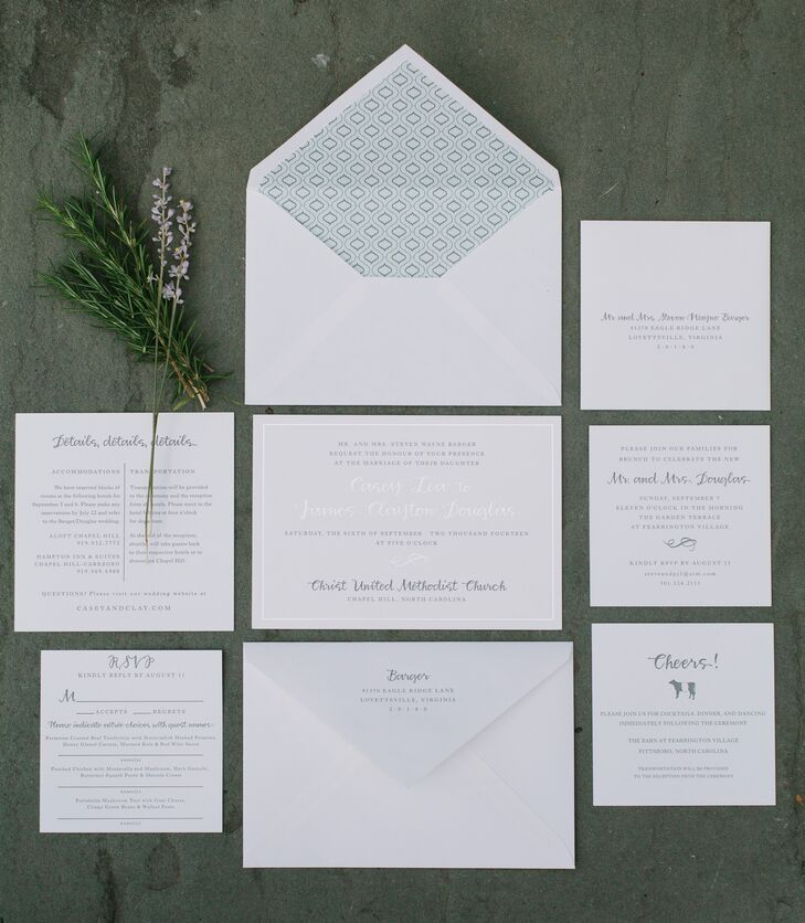 """""""Neither of us have a favorite color and prefer a clean, natural look,"""" says Casey. """"The invitations were all madernfrom sustainable bamboo paper with elegant letterpress."""""""