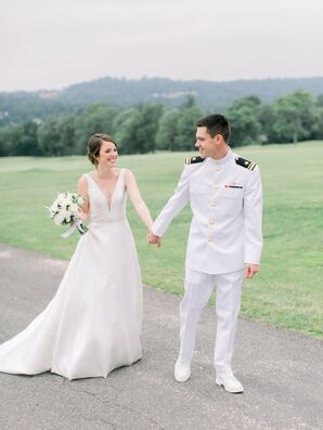 Bride and Groom at Military Wedding at Country Club in New Jersey