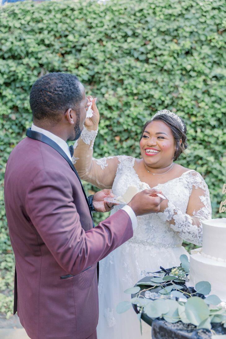 Couple Cutting Cake During Wedding in Newport Beach, California
