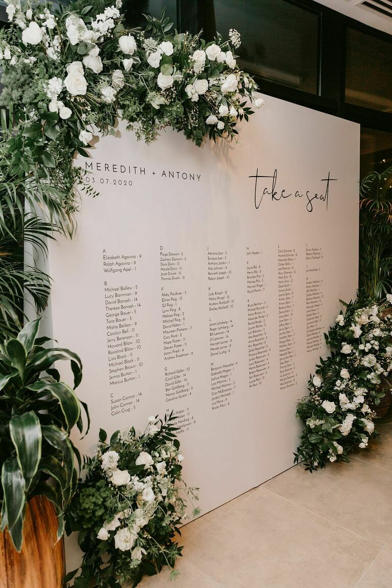 Large black-and-white seating chart with floral accents