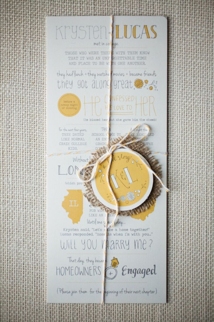 The couple's cute invites set a whimsical tone for the wedding day by telling the story of their courtship, from when they met to Lucas's romantic proposal.