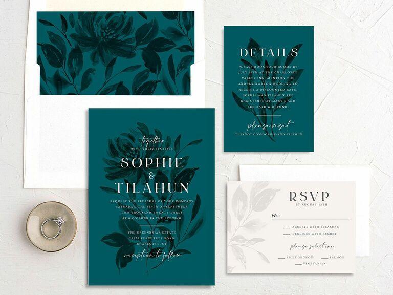 fall wedding invitation teal