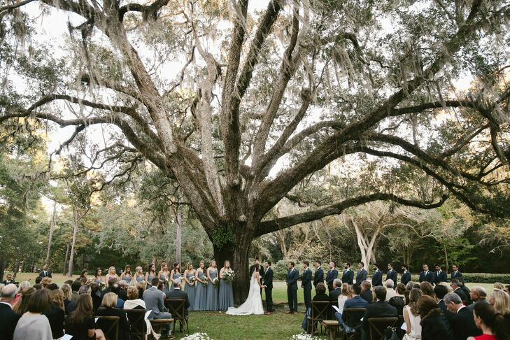 Couple at Wedding Underneath a Large Tree at Eden Gardens State Park in Santa Rosa Beach, Florida
