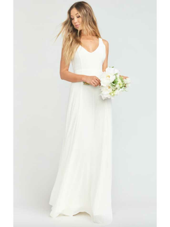 Simple maxi beach wedding dress with V-neckline