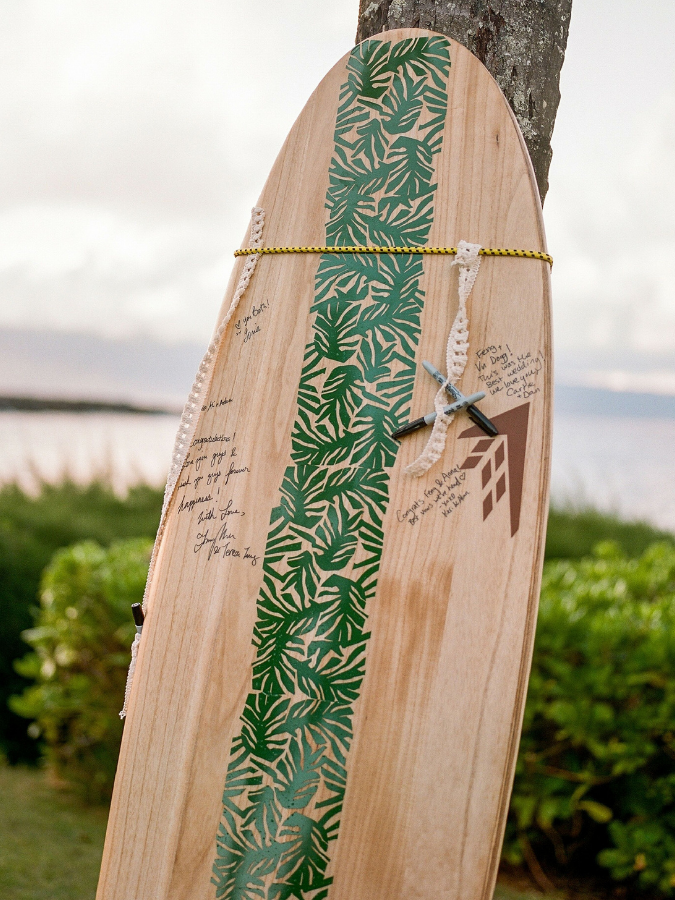 Wood surfboard guest book