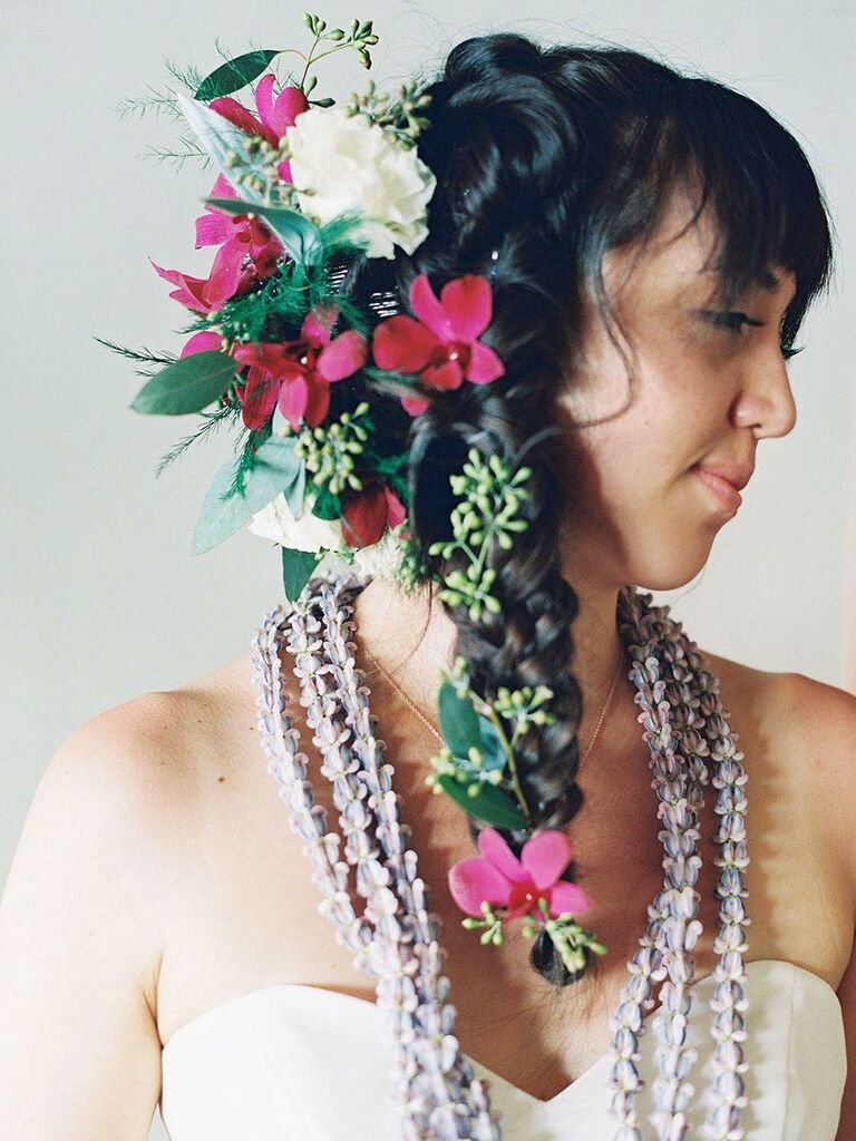 Braid with tropical flowers