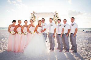 Pink Bella Bridesmaids Dresses and Groomsmen's Ties