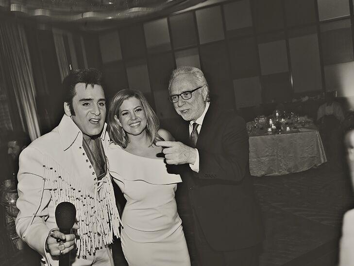 Elvis impersonator, Brianna Keilar and Wolf Blitzer at Las Vegas wedding