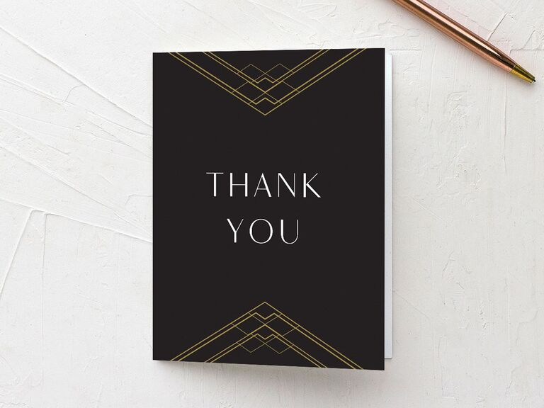 Modern geometric black and gold shower thank-you card