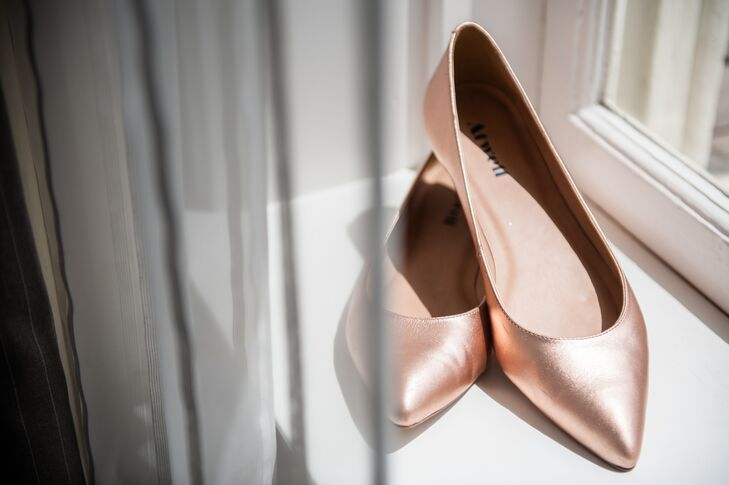 Erin wore these copper colored metallic bridal heels down the aisle on her wedding day.