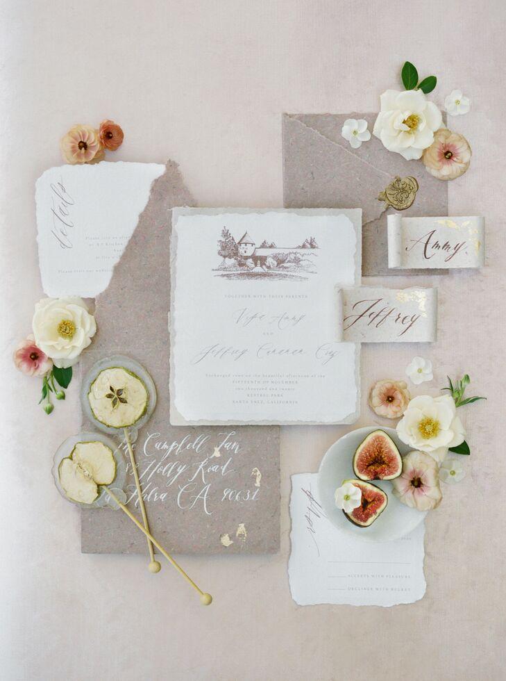 Romantic Invitation Suite Made of Handmade Paper