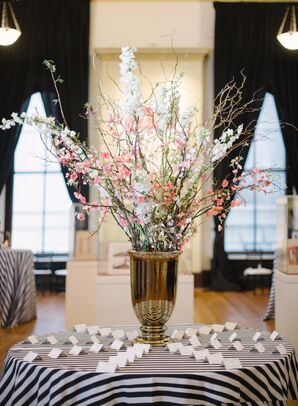 Black-and-White Striped Escort Card Table with Cherry Blossoms Arrangement