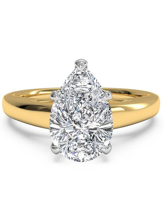 Ritani Solitaire Diamond Cathedral Engagement Ring - in 18kt Yellow Gold for a Pear Center Stone Engagement Ring photo