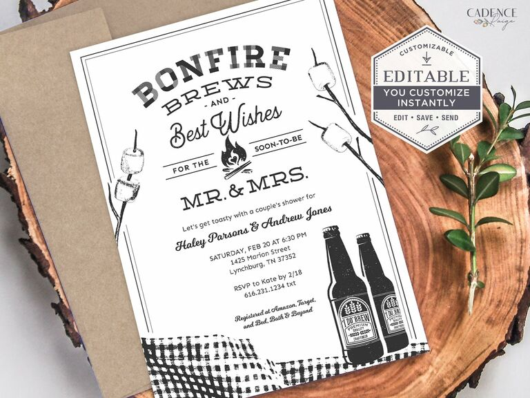 Bonfire Brews in bold type with beer bottle and marshmallow icons in black and white
