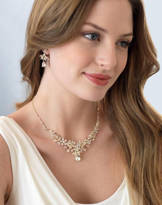 USABride Nicolette Swarovski Crystal Gold Jewelry Set (JS-1655-G) Wedding Necklaces photo
