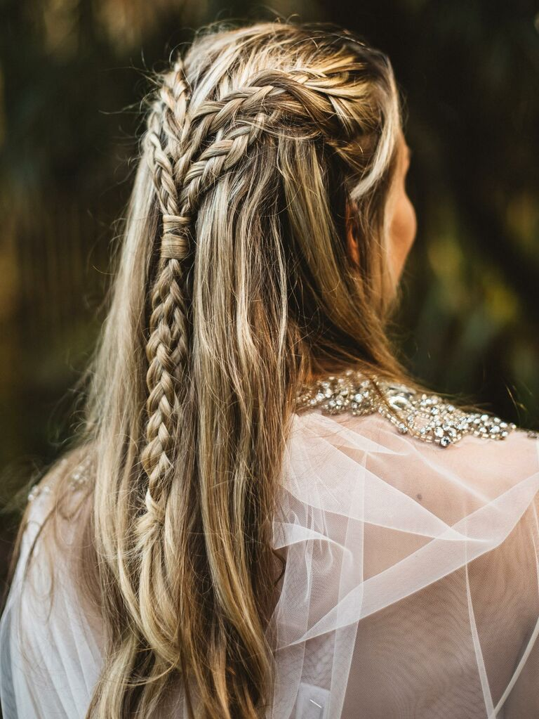 Half-up style with braids