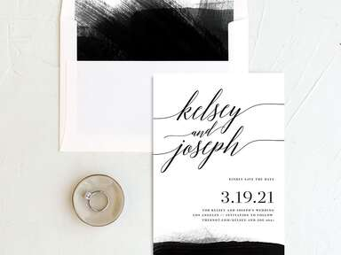 Painted minimal save-the-date from The Knot Invitations