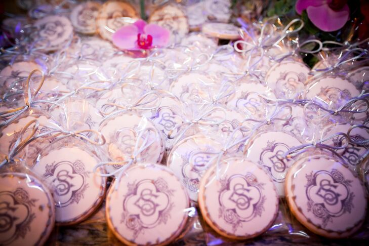 """Sharon and Chris sent guests home with cookies embossed with their custom logo— the """"S"""" from Sharon and the """"C"""" from Christopher intertwined."""