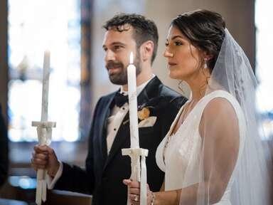 Greek Orthodox wedding ceremony.