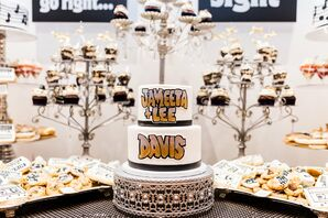 Round Wedding Cake with Hip-Hop-Inspired Lettering and Cake Stand