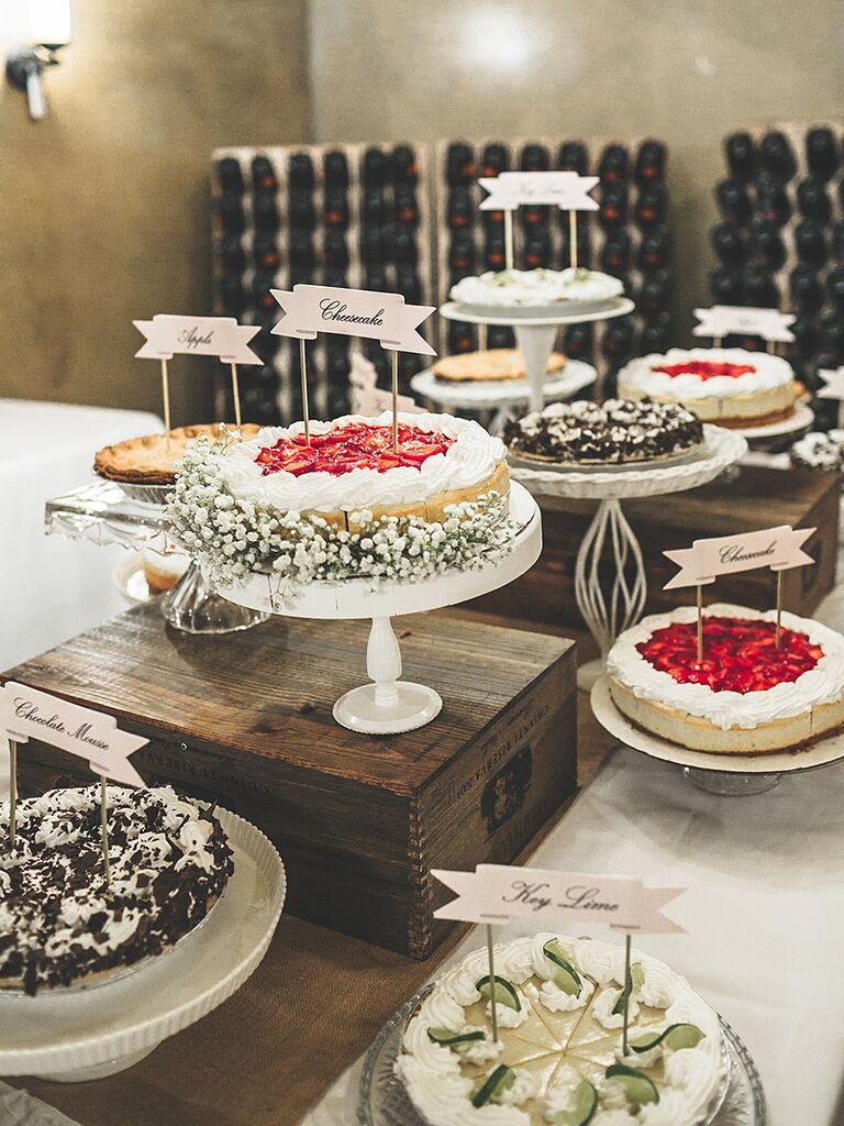 Cheesecake dessert station for a wedding reception