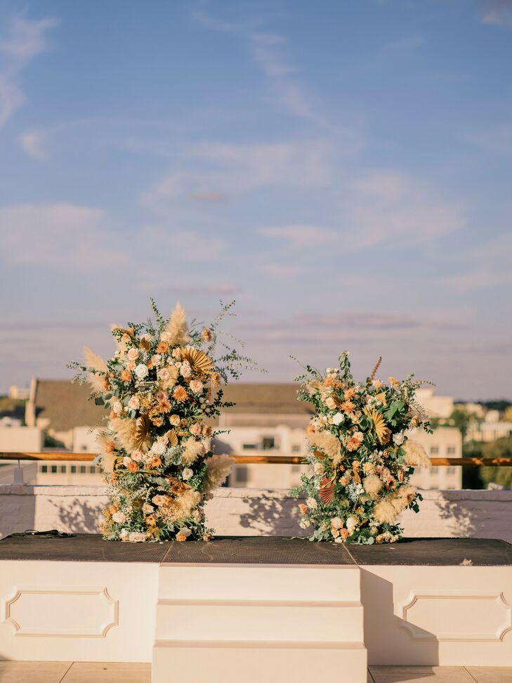 Floral Altar Decorations on Rooftop of The Faulkner in Jackson, Mississippi