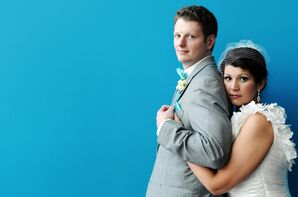 Playful Bride and Groom with Bright Blue Bowtie
