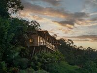 Sunset along lodge in rainforest of Costa Rica.