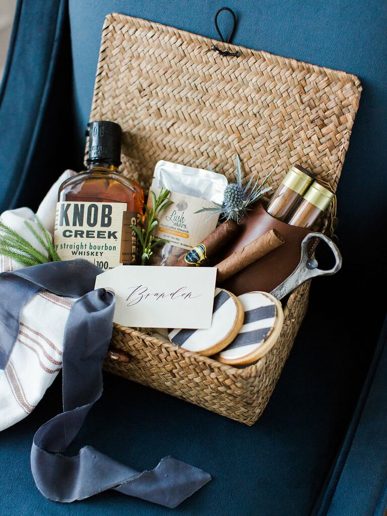 Groomsman gift basket with Knob Creek whiskey and cigars by Marigold and Grey