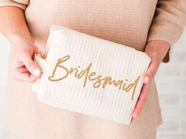 Bridesmaid makeup bag gift