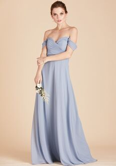 Birdy Grey Spence Convertible Dress in Dusty Blue V-Neck Bridesmaid Dress
