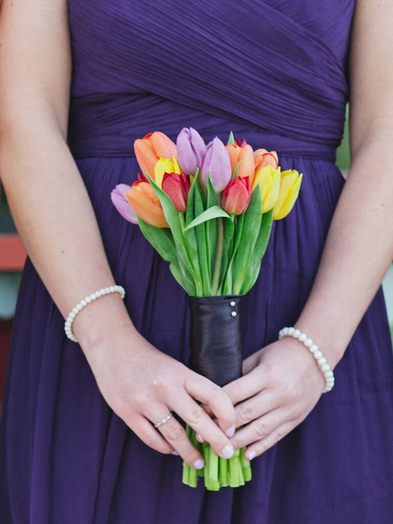 Silk wrapped tulip wedding bouquet ideas