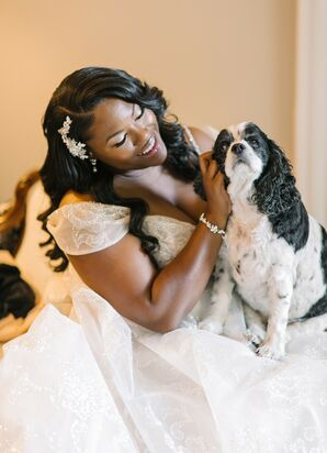 Bride with Furry Friend at The Lace House in Columbia, South Carolina