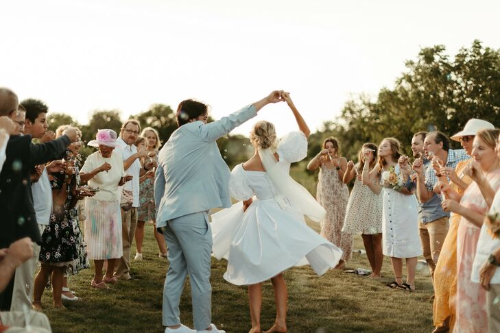 Bride and Groom Dance for Wedding Guests