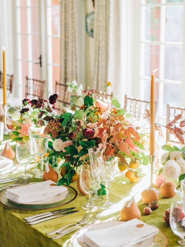 Wedding Centerpieces Leaves and Flowers