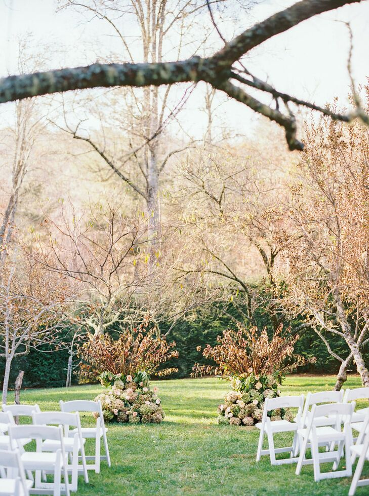 Romantic Outdoor Ceremony Decor at Old Edwards Inn & Spa in Highlands, North Carolina
