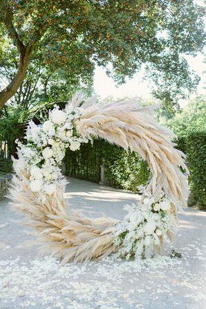 Boho Pampas Grass Wedding Arch at Savoia Castle in Prague, Czech Republic