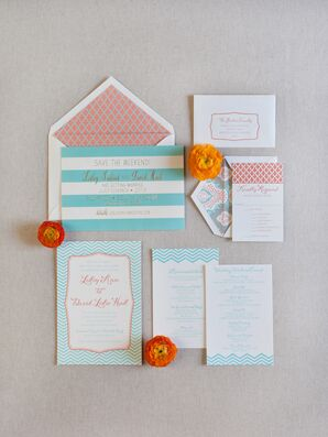 Bright Turquoise and Coral Stationery