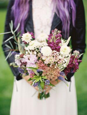 Purple Stock, Scabiosa and Veronica Bouquet