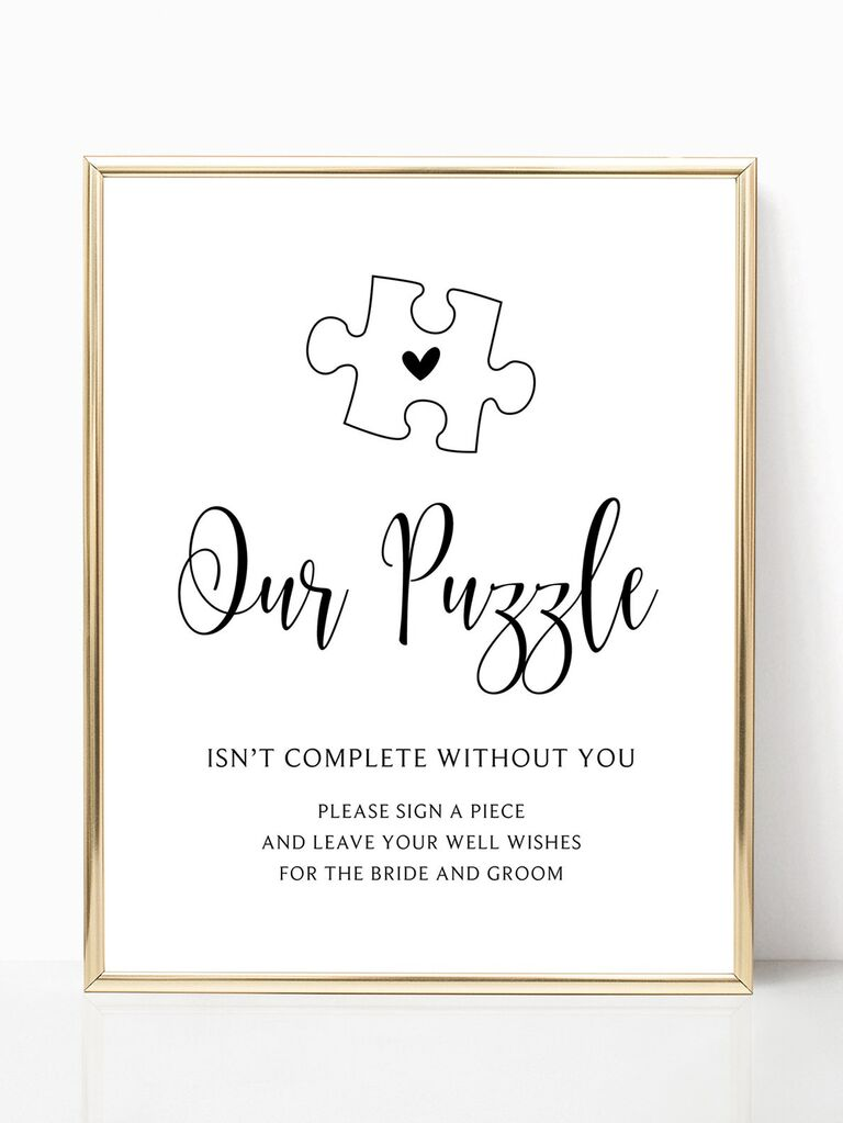 'Our puzzle isn't complete without you' in playful black type below puzzle graphic with heart in center in gold frame