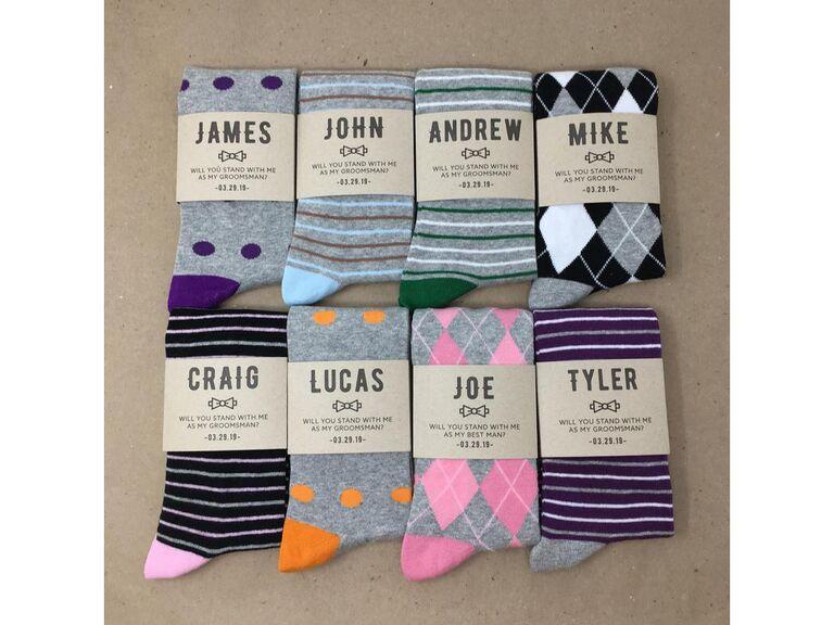Custom groomsmen proposal socks