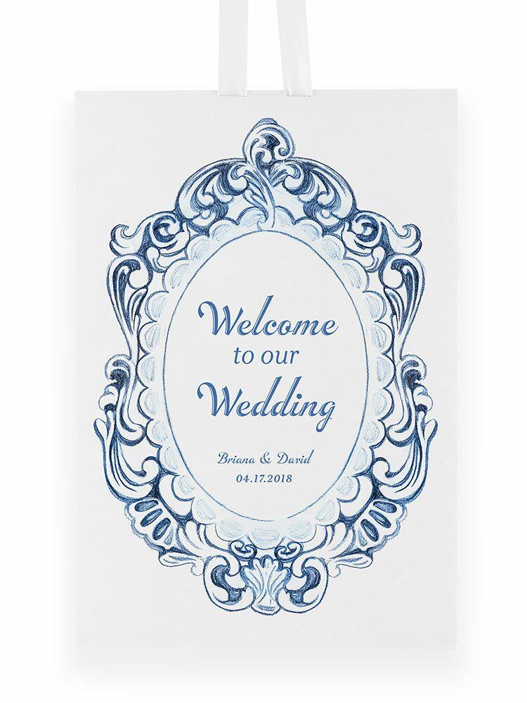Vintage hanging wedding welcome sign