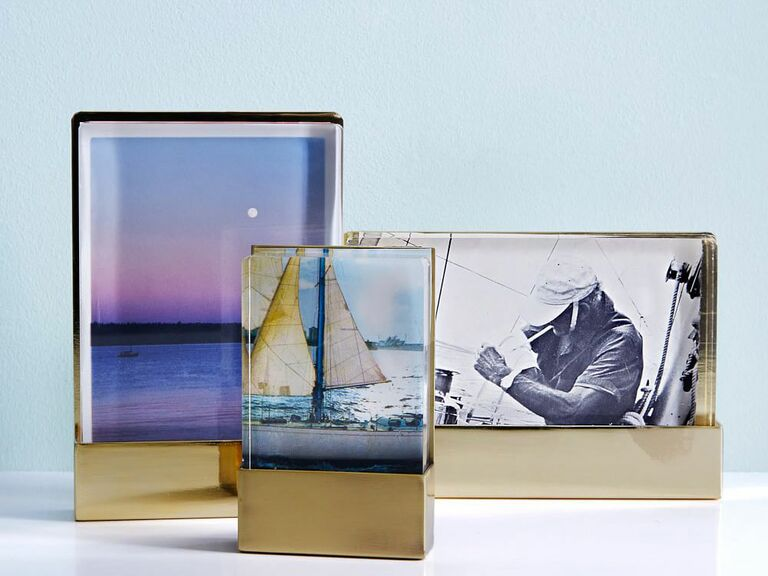 Acrylic and brass wedding picture frame set