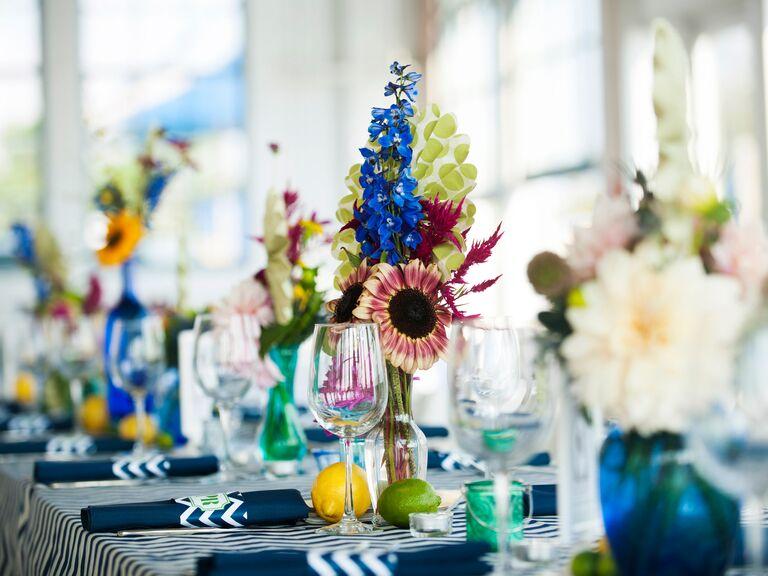 Mismatched floral reception centerpieces