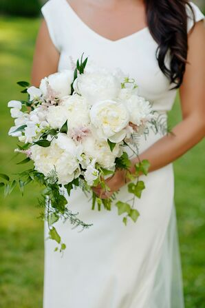 A Soft, Lush Bouquet of Peonies, Astilbe and Ivy