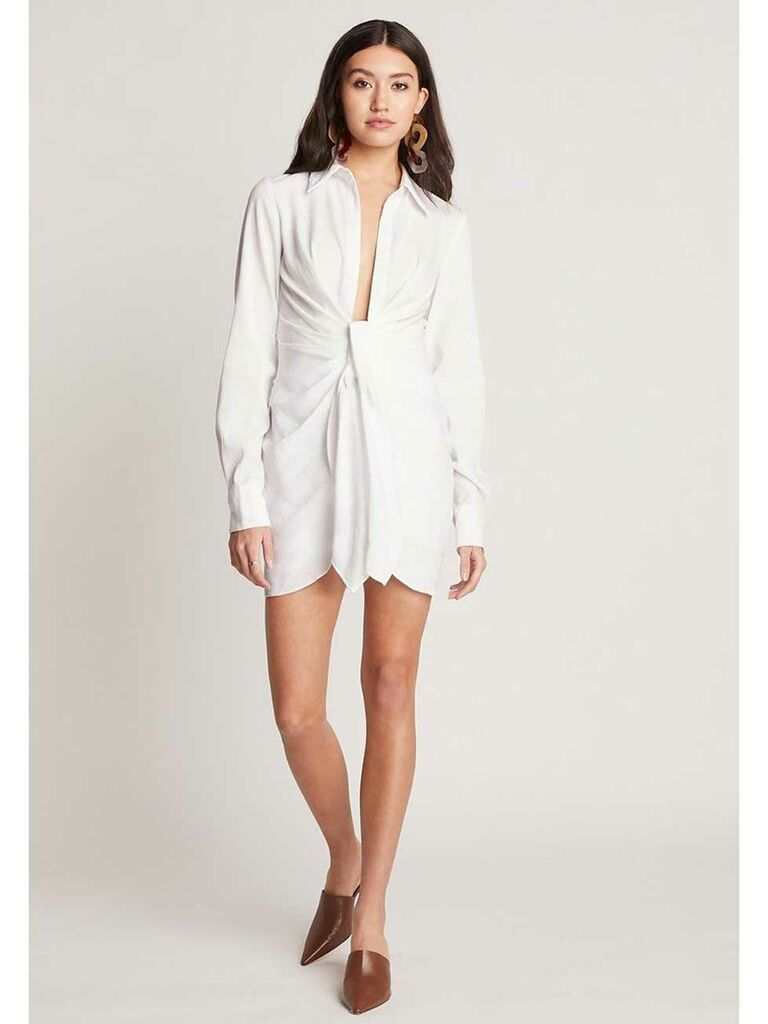 White knotted T-shirt dress