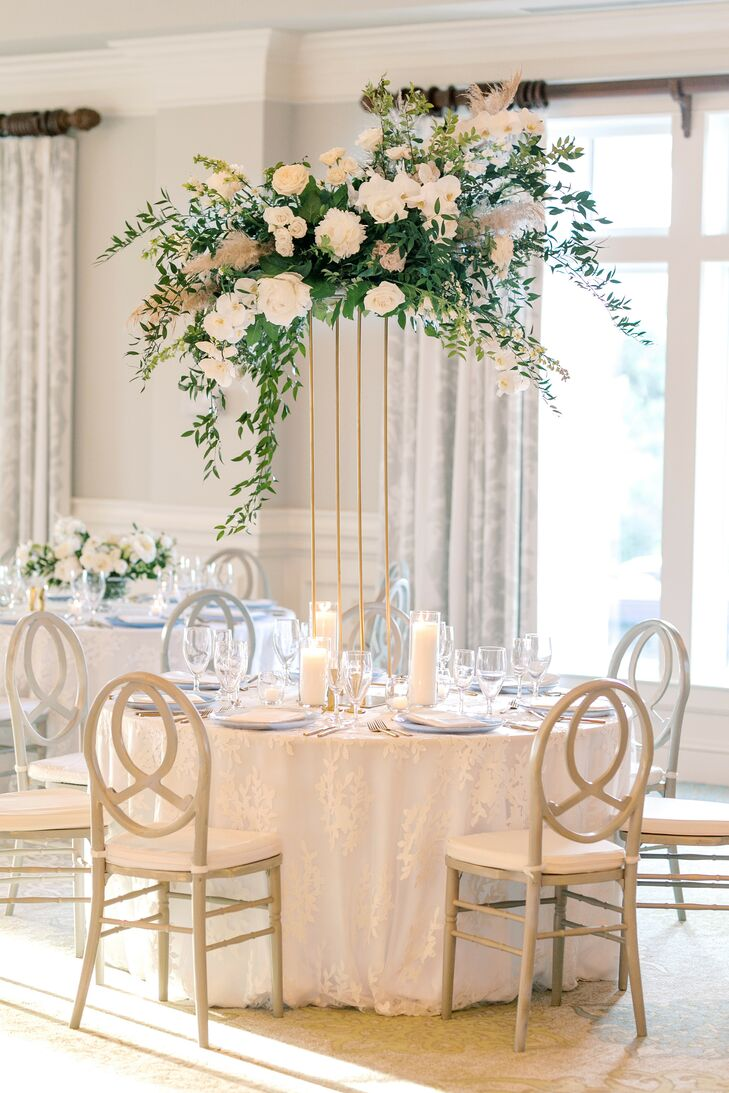 Romantic All-White Table Decor With Tall Centerpieces
