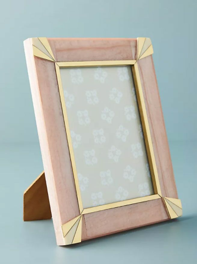 Pale pink wedding picture frame with gold art deco accents